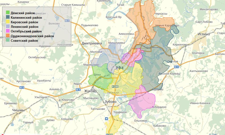 Карта районов Уфы
